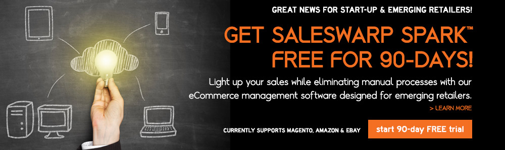 SalesWarp SPARK Free 90 Day Trial: Light up your sales while eliminating manual processes with our eCommerce management software designed for emerging retailers
